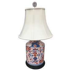 Large Antique Japanese Imari Porcelain Ginger Jar Lamp with Lid and new shade