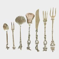 7 Silver Plate Collector Mini Souvenir flatware Highly Detailed Spots buffed out!
