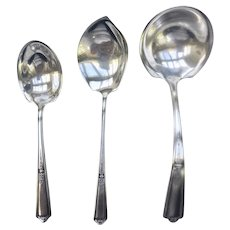 Beautiful  Towle  Sterling Silver SEVILLE Pattern 1926 Gravy Ladle, Sugar Spoon & Jelly Spoon