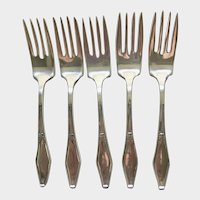 "Holmes and Edwards Silver Plate (5)Five Salad Forks- JAMESTOWN Pattern 1916, 6 3/4"" long"