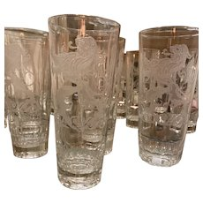 Clear IRISH Etched  Lion Pint Crystal Glasses set of 8