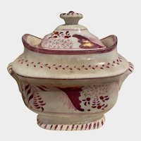 Antique English Staffordshire Pink Luster Covered small Tureen/Sugar