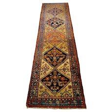 "Antique Persian Hamadan Oriental Runner Rug 2'8"" X 12'3"""