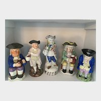 Collection of Five Antique TOBY JUGS