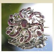 19C Antique French Silver Almandine Garnet Floral Brooch Art Nouveau