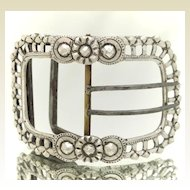 European Silver Lady's Belt Buckle Pierced Frame