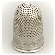 Early 19 Antique French Silver Sewing Thimble Size 11