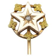 French 18K Gold Tie/Hat/Lapel Stick Pin Star w/Flower