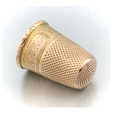 "Antique French 18K Gold Sewing Thimble ""Noel 1909"" Christmas"