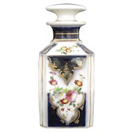 "19th Century Antique French Porcelain Perfume Bottle ""Porcelaine de Bayeux"" Flacon de Parfum"