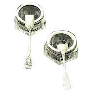 Art Deco Vintage French Sterling Silver & Crystal Open Salt Cellars Pair w/Spoon