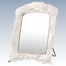 Early 20C Vintage Gorham Sterling Silver Table Vanity Mirror / Photo Frame
