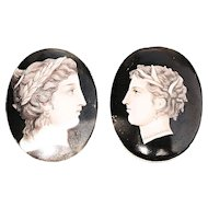 A Pair of Antique French Hand Painted Miniature Porcelain Plaques