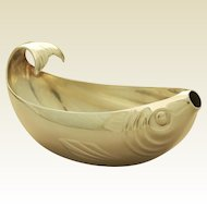 ART DECO Antique French Silver Sauce Boat by CHRISTOFLE GALLIA Series