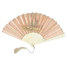 C.1900 ART NOUVEAU Antique French Hand Painted Silk Fan