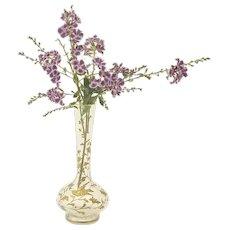 "Antique French Glass & Gold Enamel Bud Vase ""Bird"""