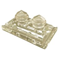 "BACCARAT Antique French Crystal Double Inkwell w/Pen Tray ""ART DECO"""