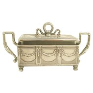 "19C Antique French Silver & Crystal Sardine Box ""Louis XVI"""