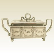 "19C Antique French Silver & Crystal Sardine Box ""Louis XVI"""