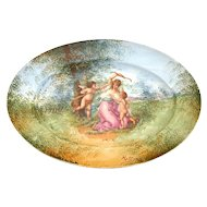 French Hand Painted Porcelain Oval Dish / Platter / Plate Old Paris Romantic Cherubs