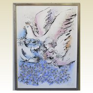 "Zamy Steynovitz ""Peace"" Original Mixed Media on Paper Signed Israeli Jewish Artist"