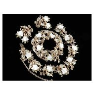 Vintage Hollycraft Lily of the Valley Rhinestone Bracelet Brooch Pin Earrings Set