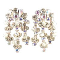 Weiss Rhinestone Glass Bead Girandole Chandelier Dangle Earrings 2 3/4""