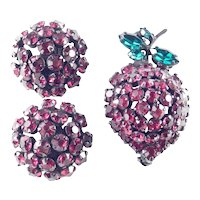 Joseph Warner Rhinestone Strawberry Berry Fruit Brooch Pin Earrings Demi Parure Set