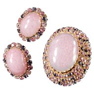 Schoffel Art Glass Cabochon Rhinestone Brooch Earrings Demi Parure Set
