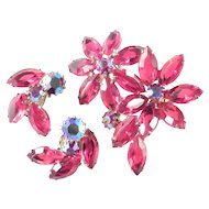 Weiss Rhinestone Art Glass Brooch Pin Earring Demi Parure Set