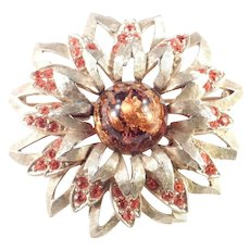 Charel Foiled Art Glass Cabochon Rhinestone Brooch Pin