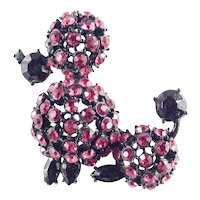 Rhinestone French Poodle Dog Brooch Pin Japanned