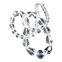 Briolette Teardrop Crystal Glass Bead Necklace Beau Sterling Silver