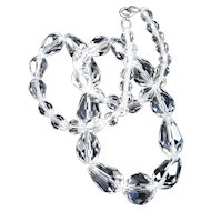 Briolette Teardrop Crystal Glass Bead Necklace Beau Sterling Silver