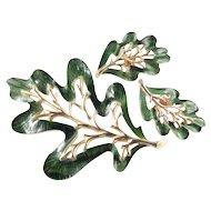 Sarah Coventry Enchanted Forest Enamel Leaf Brooch Pin Earrings Demi Parure Set