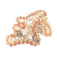 Amourelle Frank Hess Glass Bead Rhinestone Necklace Earrings Demi Parure Set