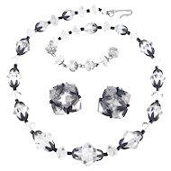 Laguna Crystal Glass Bead Necklace Earring Demi Parure Set Japanned Caps