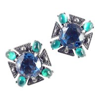 Florenza Maltese Cross Rhinestone Art Glass Earrings