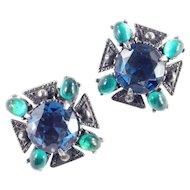 Florenza Maltese Cross Rhinestone Art Glass Earrings