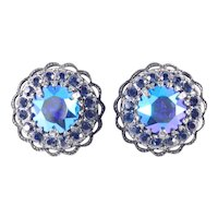 Weiss Domed Layered Headlight Rhinestone Earrings