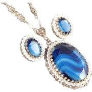 West Germany Art Glass Faux Pearl Pendant Necklace Earrings Demi Parure Set