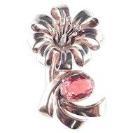 Ralph DeRosa Sterling Silver Rhinestone Art Glass Fur Clip