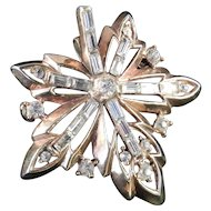 Trifari Rhinestone Maple Leaf Brooch Pin Pendant