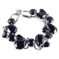 DeLizza & Elster Juliana Black Art Glass Rhinestone Bracelet