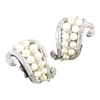Trifari Rhinestone Faux Pearl Scroll Earrings Rhodium Plate