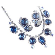 Rhinestone Necklace Earrings Demi Parure Set Big Stones