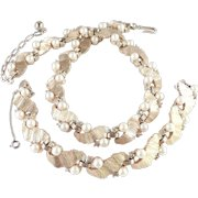 Trifari Rhinestone Faux Pearl Necklace Bracelet Demi Parure Set