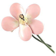 Original by Robert Enamel Flower Blossom Brooch Pin