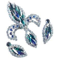 Rhinestone Fleur de Lis Brooch Pin Earrings Demi Parure Set