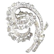 Alfred Philippe Trifari Sterling Silver Rhinestone Plume Brooch Pin